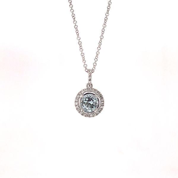 14K White Gold Aquamarine & Diamond Pendant Image 2 Martin Busch Inc. New York, NY