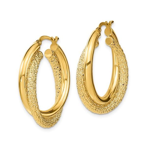 Sparkle Texture & Polished Double Hoops Image 2 Martin Busch Inc. New York, NY