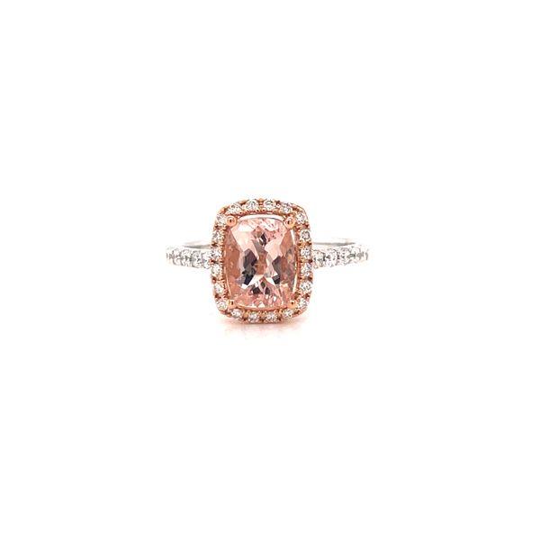 18K Morganite and Diamonds Halo Ring Martin Busch Inc. New York, NY