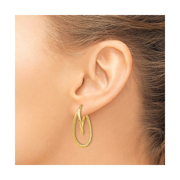 14K Gold Textured Double Hoop Earring Image 3 Martin Busch Inc. New York, NY