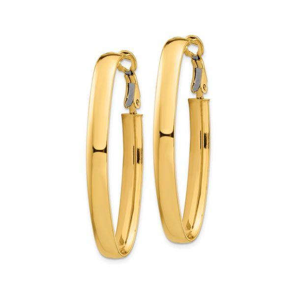 14K Long Omega Back Hoop Earring Image 2 Martin Busch Inc. New York, NY