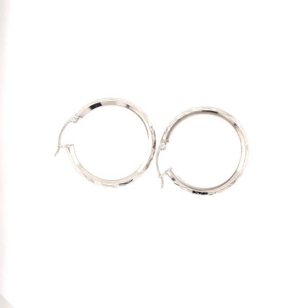 White Gold Medium Hoop Earrings Image 3 Martin Busch Inc. New York, NY