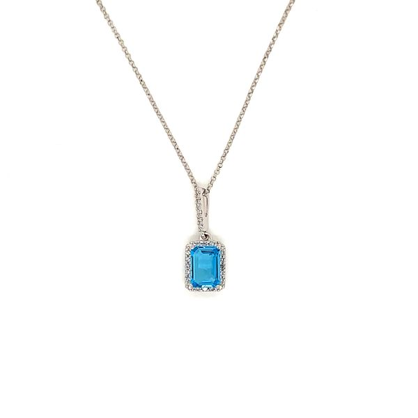 Blue Topaz and Diamond Halo Pendant Martin Busch Inc. New York, NY
