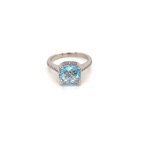 Blue Topaz and Diamond Halo Ring Martin Busch Inc. New York, NY