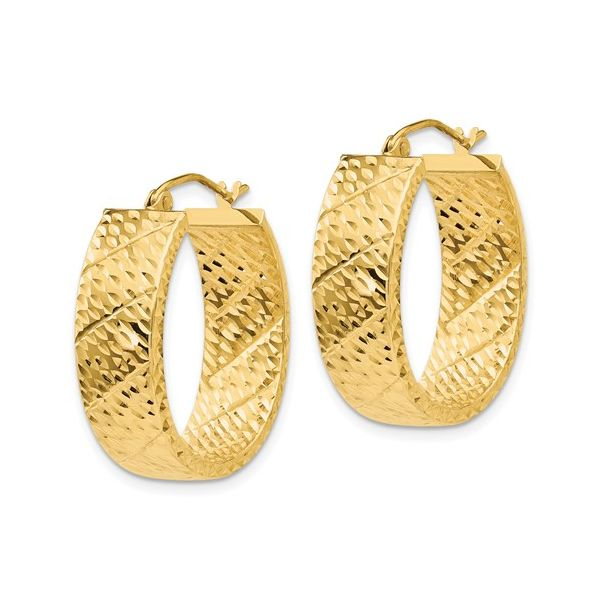 14K Gold Textured Hoop Earring Image 2 Martin Busch Inc. New York, NY