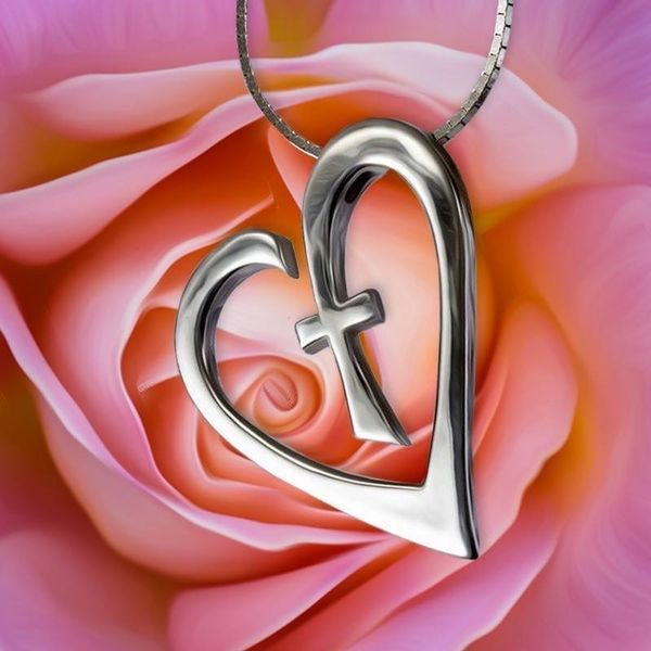 Sterling Silver Heart Cross Pendant  McCoy Jewelers Bartlesville, OK