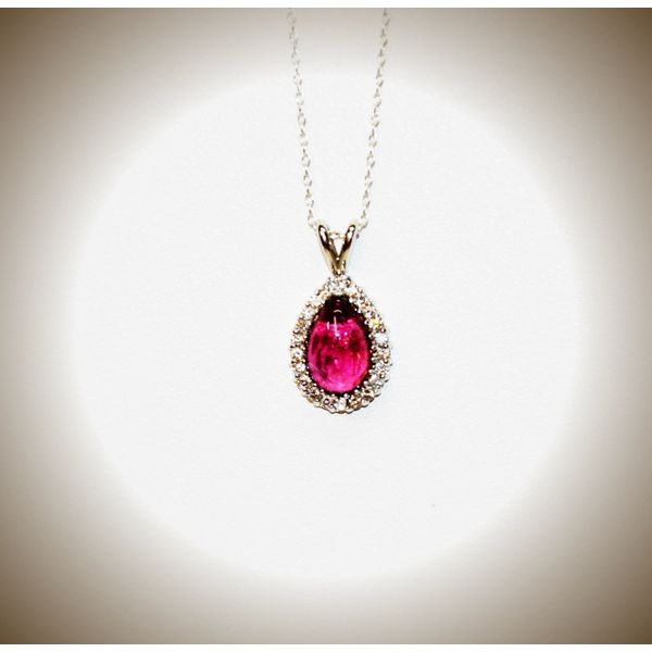 14 Karat White Gold Diamond and Tourmaline Pendant McCoy Jewelers Bartlesville, OK