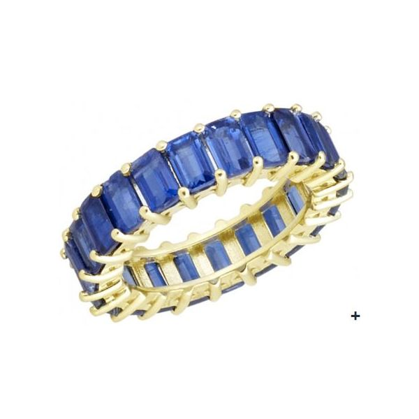 Royal Blue Kyanite Emerald Cut Eternity Band Mystique Jewelers Alexandria, VA