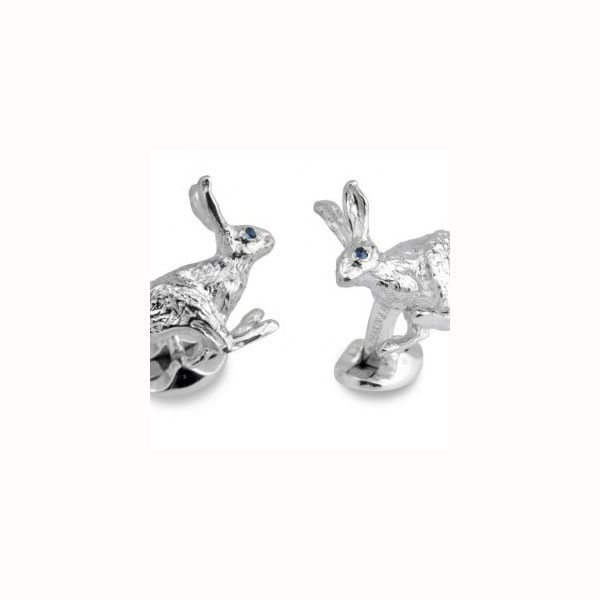 STERLING SILVER HARE CUFFLINKS WITH SAPPHIRE EYES Mystique Jewelers Alexandria, VA