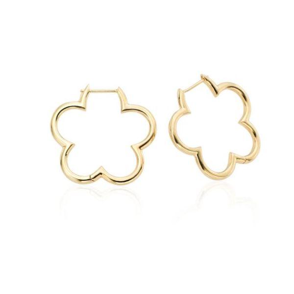 18K Yellow Gold Small Clover Hoops Mystique Jewelers Alexandria, VA