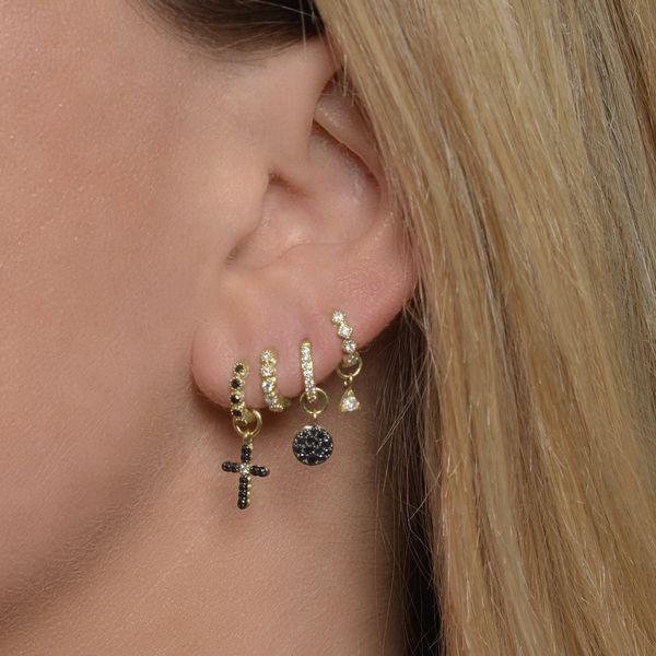 Petite Bezel Hoop Earring Image 2 Mystique Jewelers Alexandria, VA
