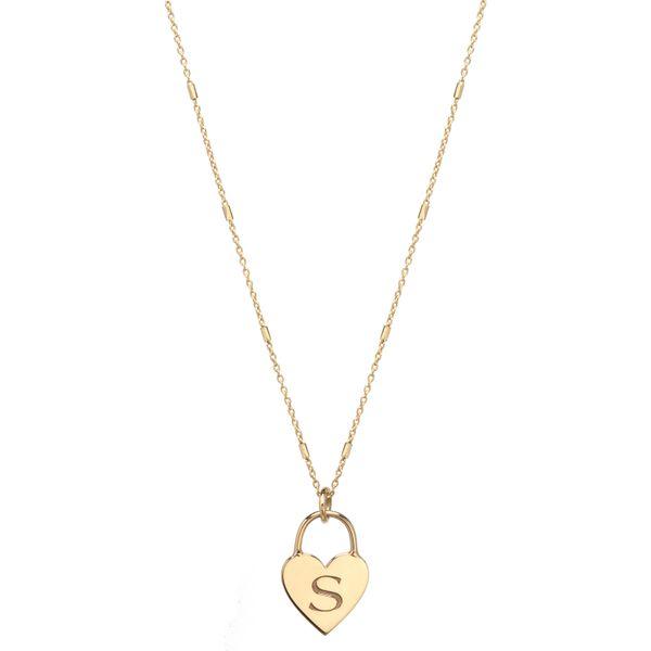 14k Small Engraved Initial Heart Padlock Necklace Mystique Jewelers Alexandria, VA