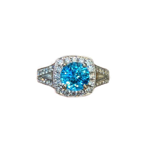 Blue Zircon and Diamond Halo Ring Mystique Jewelers Alexandria, VA