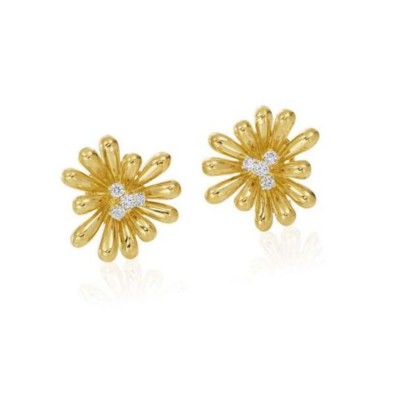 18K Yellow Gold and Diamond Flower Earrings Mystique Jewelers Alexandria, VA