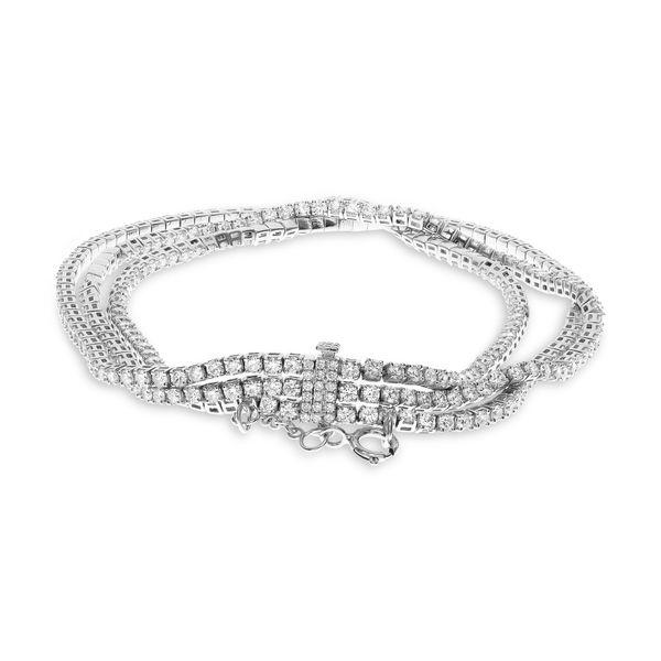 White Gold Three Row Diamond Bracelet Image 2 Mystique Jewelers Alexandria, VA