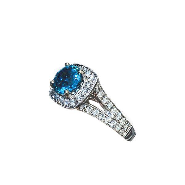 Blue Zircon and Diamond Halo Ring Image 2 Mystique Jewelers Alexandria, VA