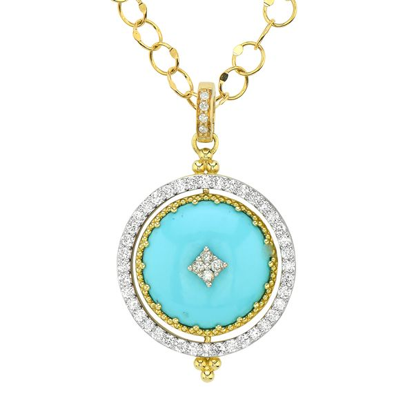 Large Provence Pave Halo Spinning Tablet Engravable Pendant Mystique Jewelers Alexandria, VA