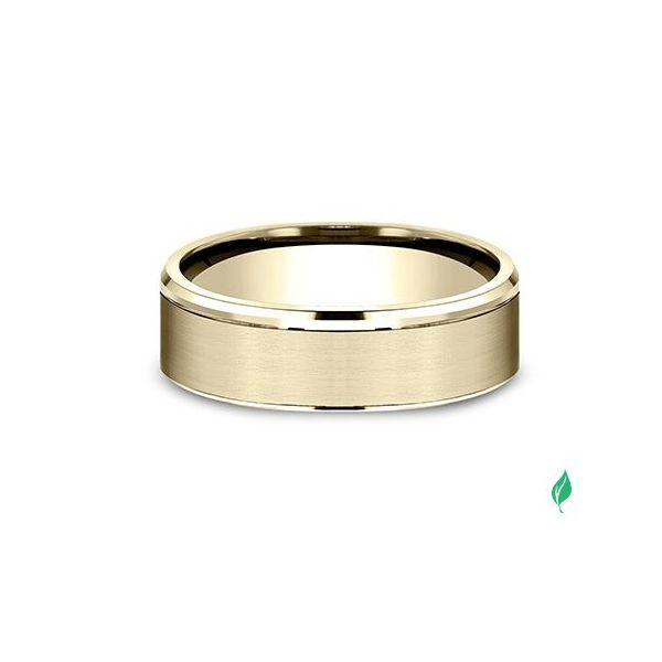 High-polish drop edges embrace a classic satin finish center on this 6.5mm Comfort-Fit design ring. Image 2 Mystique Jewelers Alexandria, VA