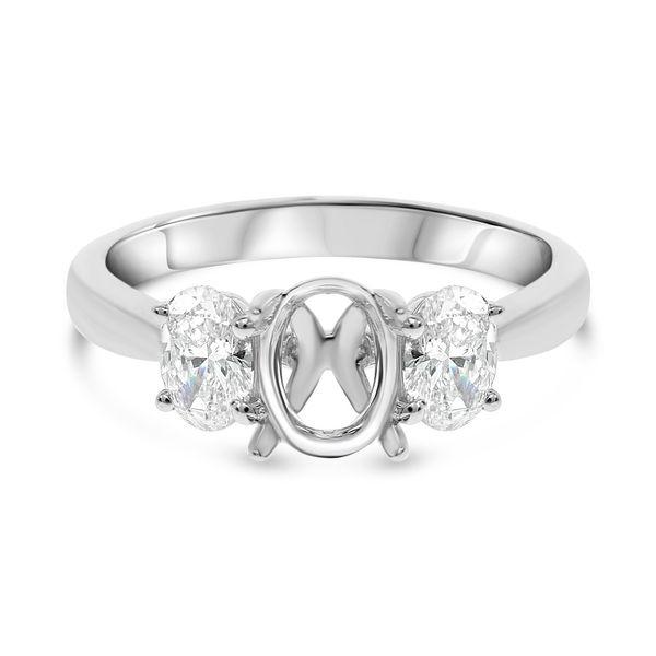 18K White Gold Three Stone Semi Mount Mystique Jewelers Alexandria, VA