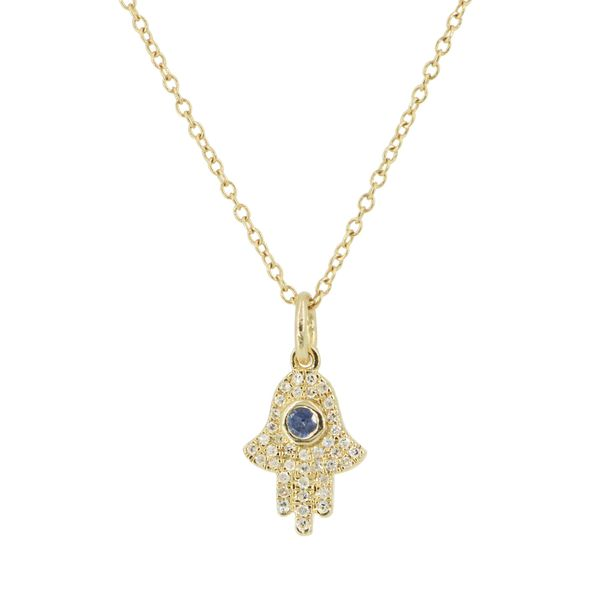 HAMSA HAND NECKLACE WITH BLUE SAPPHIRE AND DIAMONDS - MINI Mystique Jewelers Alexandria, VA