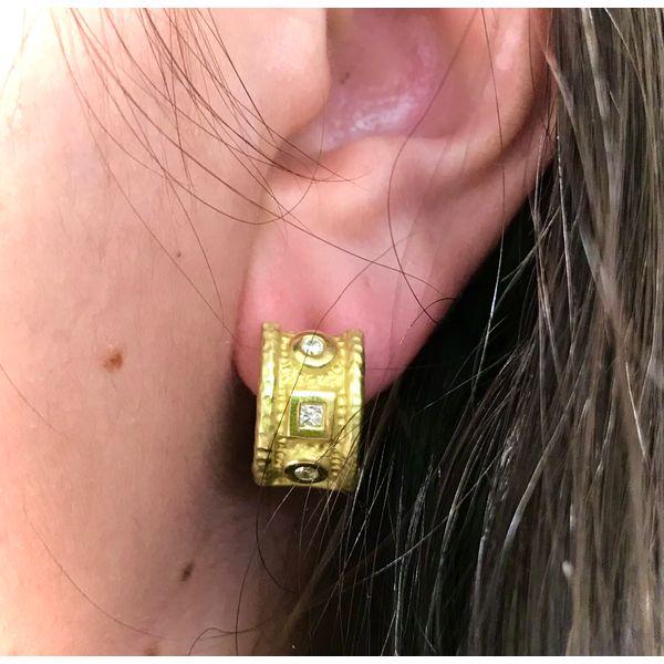 Gold Hammered Hoops with Diamonds Mystique Jewelers Alexandria, VA
