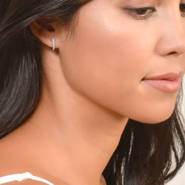Diamond Hoop Earrings Image 2 Mystique Jewelers Alexandria, VA