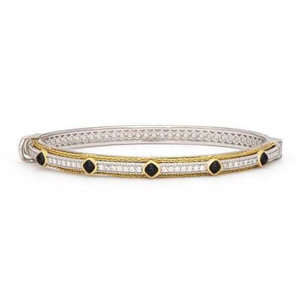 Mixed Metal Double Woven Rope Trim Stones and Diamond Bracelet Mystique Jewelers Alexandria, VA