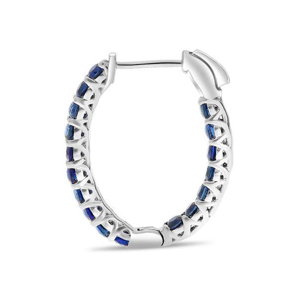 Blue Sapphire Oval Hoop Earrings Image 4 Mystique Jewelers Alexandria, VA