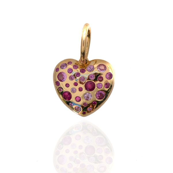 Love Heart Pendant in Pink Sapphires Mystique Jewelers Alexandria, VA