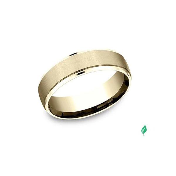 High-polish drop edges embrace a classic satin finish center on this 6.5mm Comfort-Fit design ring. Mystique Jewelers Alexandria, VA