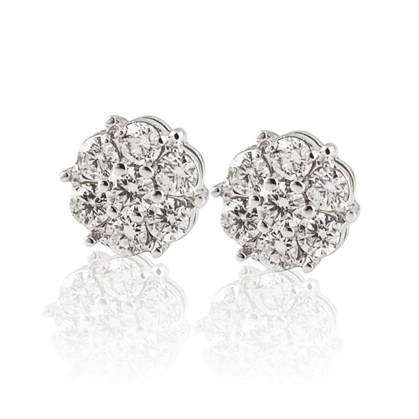 Diamond cluster earrings Mystique Jewelers Alexandria, VA