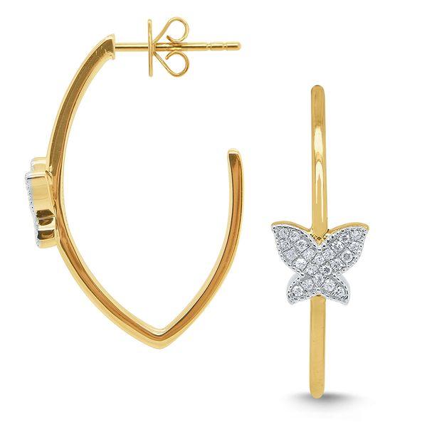 Gold and Diamond Butterfly Hoop Earrings Mystique Jewelers Alexandria, VA