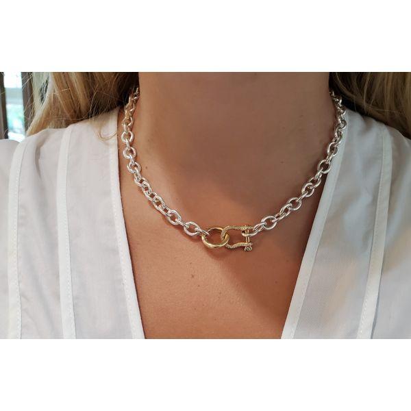Petit Shackle Chain Necklace | Gold Diamond Image 2 Mystique Jewelers Alexandria, VA