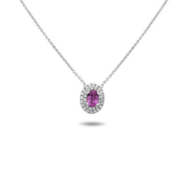Oval Pink Sapphire Double Halo Necklace Mystique Jewelers Alexandria, VA