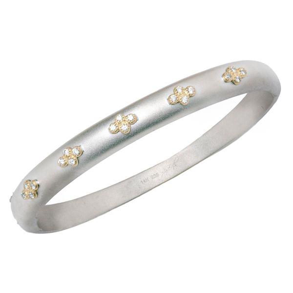 Wide Silver and Gold Bangle with Diamonds Mystique Jewelers Alexandria, VA