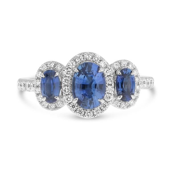 Three Stone Sapphire and Diamond Halo Ring Mystique Jewelers Alexandria, VA