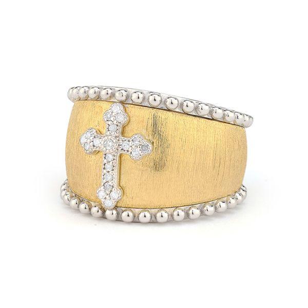 Mixed Metal 18K Gold Beaded Pave Guinevere Graduated Ring Mystique Jewelers Alexandria, VA