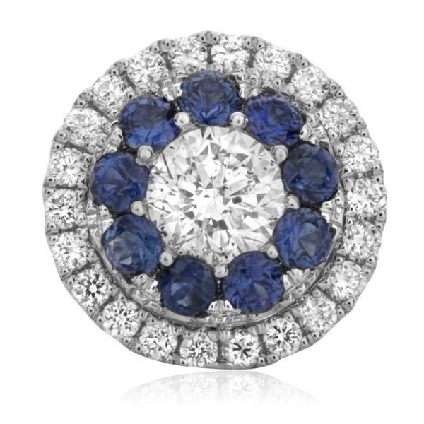 Sapphire Halo Stud Earrings Image 2 Mystique Jewelers Alexandria, VA