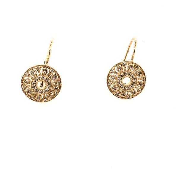14kt Diamond Circle Lever back Earrings Mystique Jewelers Alexandria, VA