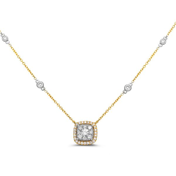 Two Tone Diamond Halo Necklace  Mystique Jewelers Alexandria, VA