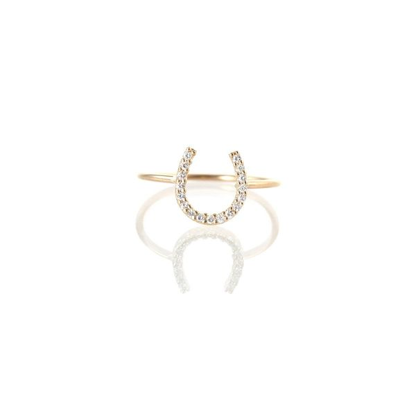 14k pave diamond horseshoe ring Mystique Jewelers Alexandria, VA