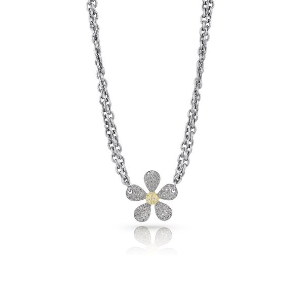 Daisy Diamond Pave Necklace with Double Chain Mystique Jewelers Alexandria, VA