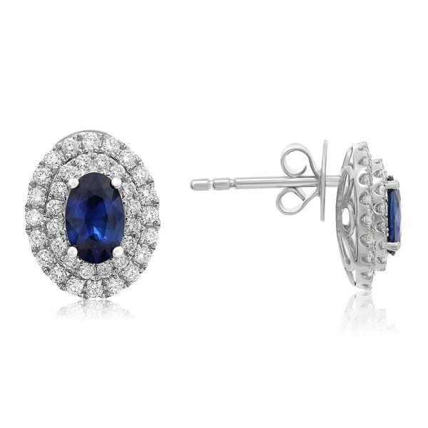 Sapphire diamond earrings Mystique Jewelers Alexandria, VA