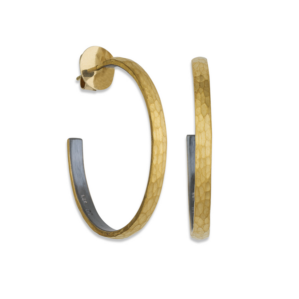 Lika Behar 24k Gold & Oxidized Sterling Silver Fusion Hoops Mystique Jewelers Alexandria, VA
