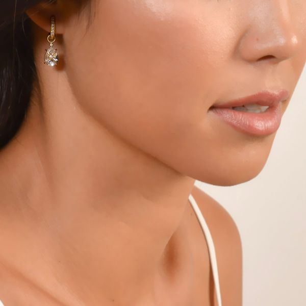 Tiny Criss Cross Wrapped Pear Stone Earring Charms Image 2 Mystique Jewelers Alexandria, VA