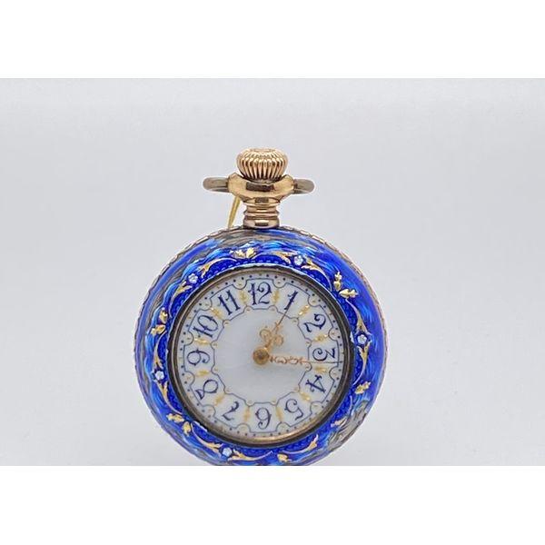 Blue Enamel Pocket Watch Image 2 Mystique Jewelers Alexandria, VA
