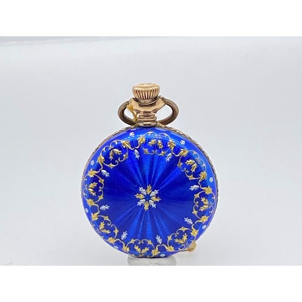 Blue Enamel Pocket Watch Mystique Jewelers Alexandria, VA