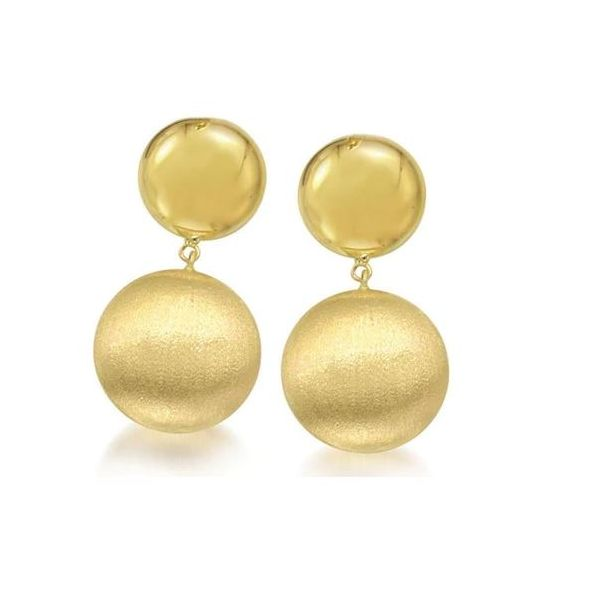 GOLD SHINY AND FLORENTINE DANGLE EARRINGS Mystique Jewelers Alexandria, VA