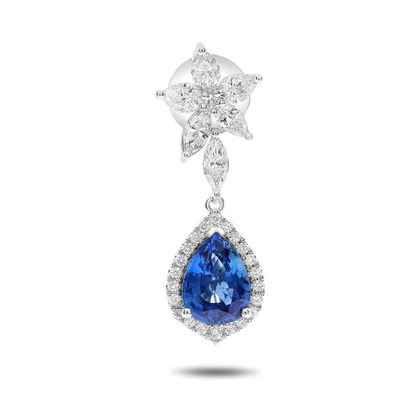 4+ Carat Pear Shaped Blue Sapphire and Diamond Drop Earrings Image 2 Mystique Jewelers Alexandria, VA