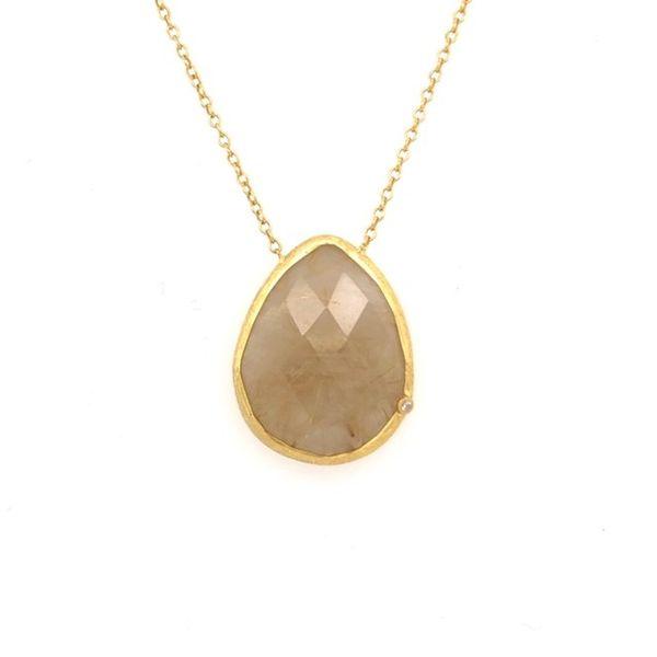 Rutilated Quartz necklace with CZ Mystique Jewelers Alexandria, VA